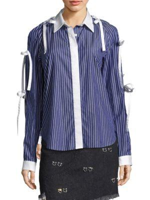 SANDY LIANG Striped Cotton Shirt With Bows in Corporate