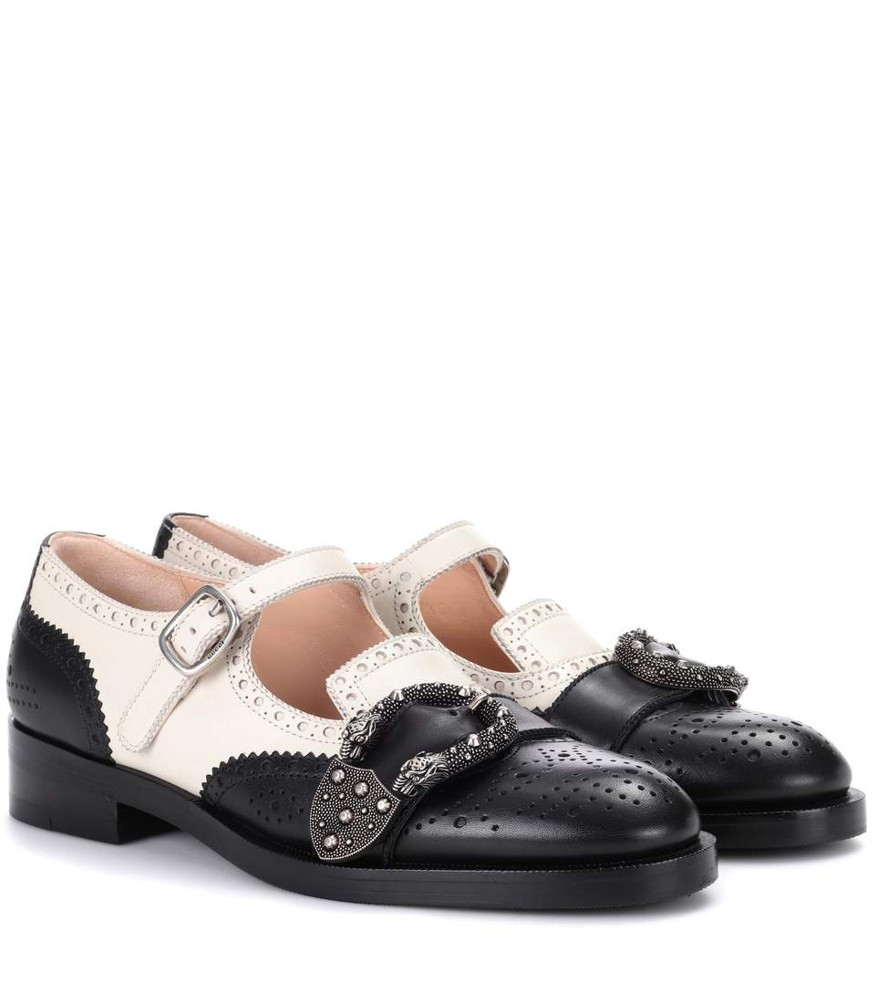Queercore Brogue Monk Shoes, Black, White