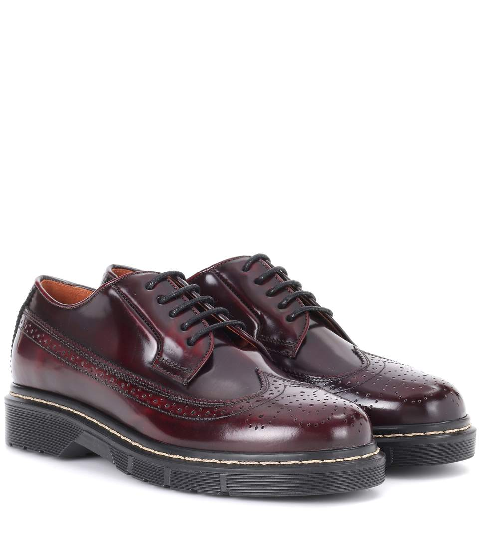 JOSEPH Trek-Sole Leather And Rubber Brogues in Colour: Burgundy-Brown