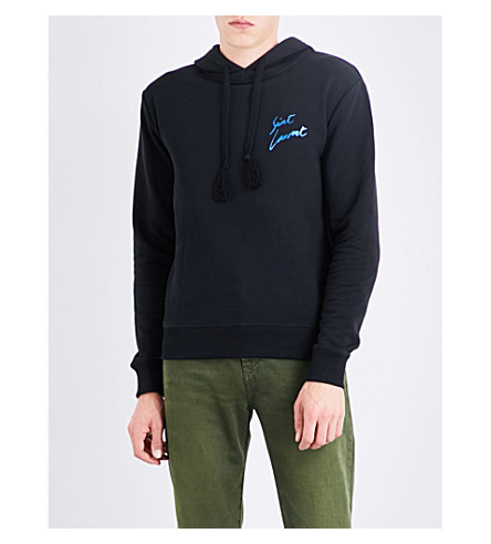 SAINT LAURENT Metallic Logo-Print Cotton-Jersey Hoody, Black