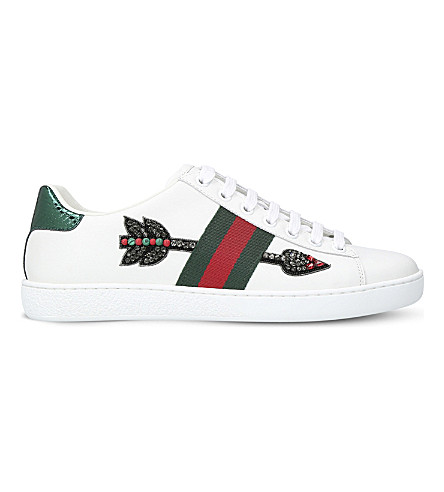 New Ace Arrow-Embroidered Leather Trainers, White