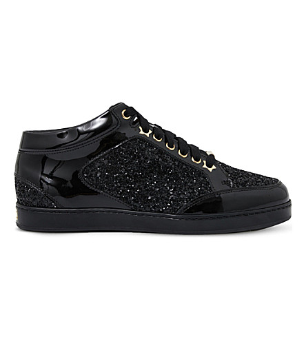 Miami black leather logo sneakers Jimmy Choo London