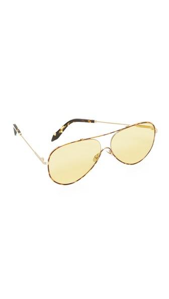 Victoria Beckham Loop Aviator Sonnenbrille in Lumiere Du Soleil aus Metall EJxCnar
