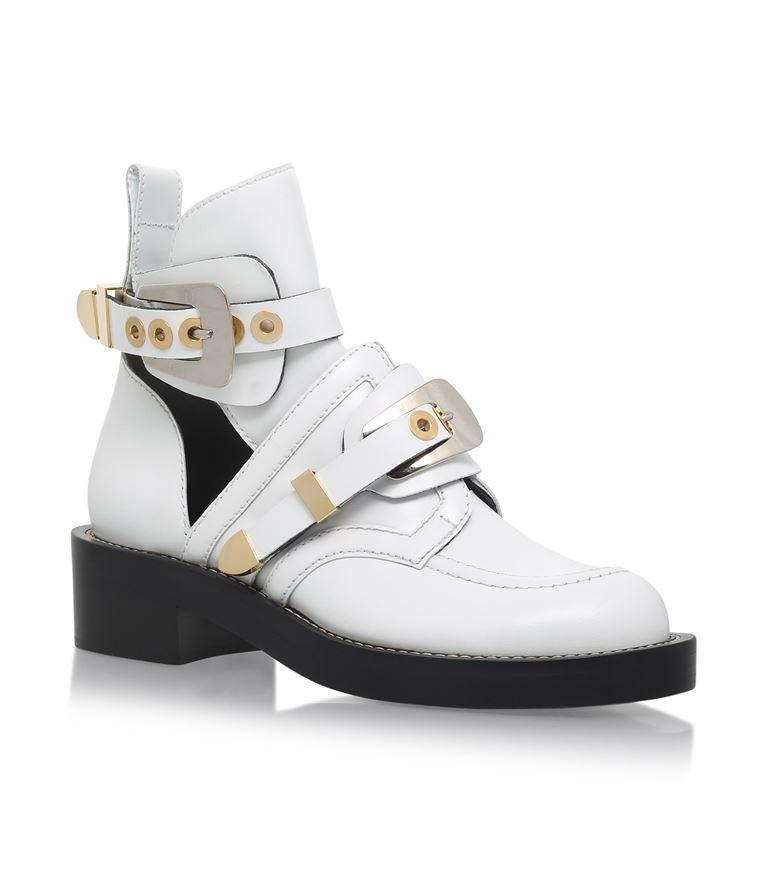 Ceinture Leather Cut-Out Boots, White