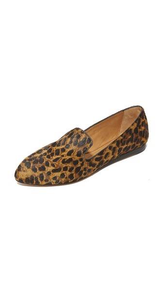Griffin Leopard-Print Loafer Flat, Tan/Black