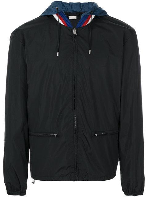 Wool-Trimmed Logo-Print Shell Hooded Jacket in Black