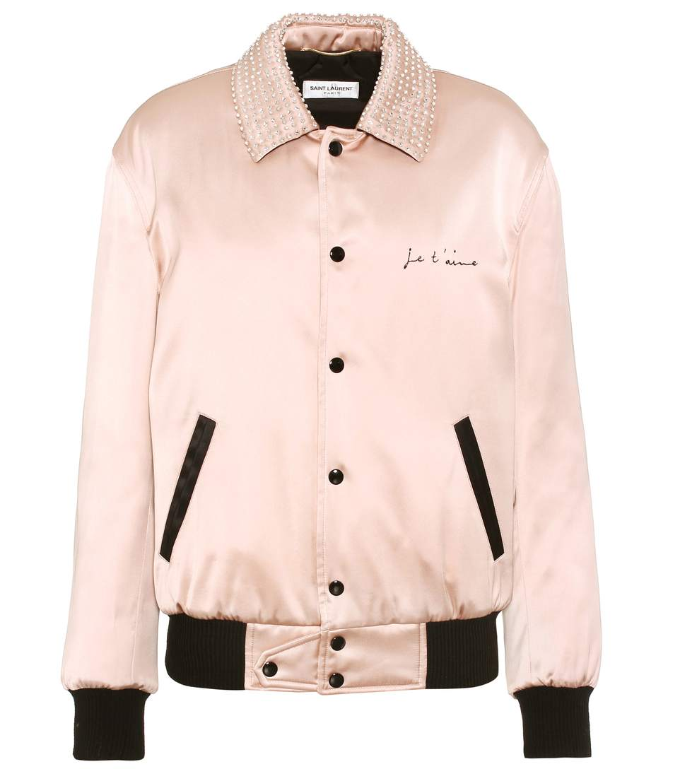 Crystal-Embellished Bomber Jacket in Pink