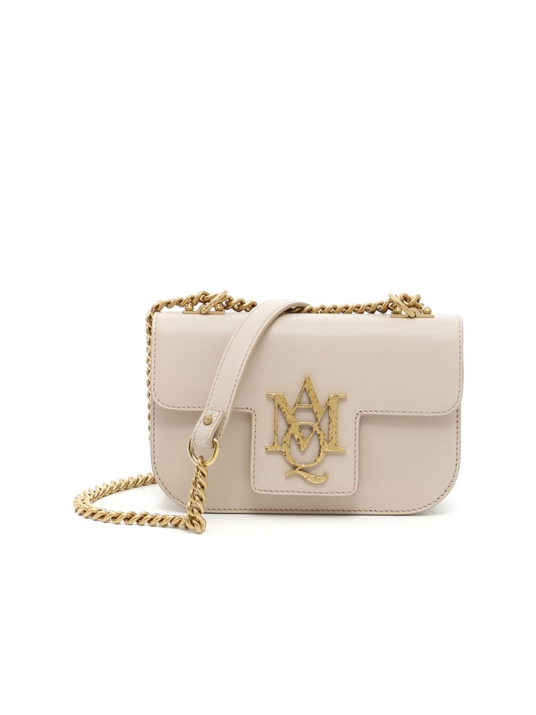 ALEXANDER MCQUEEN Insignia Leather Shoulder Bag in Poudre Pink