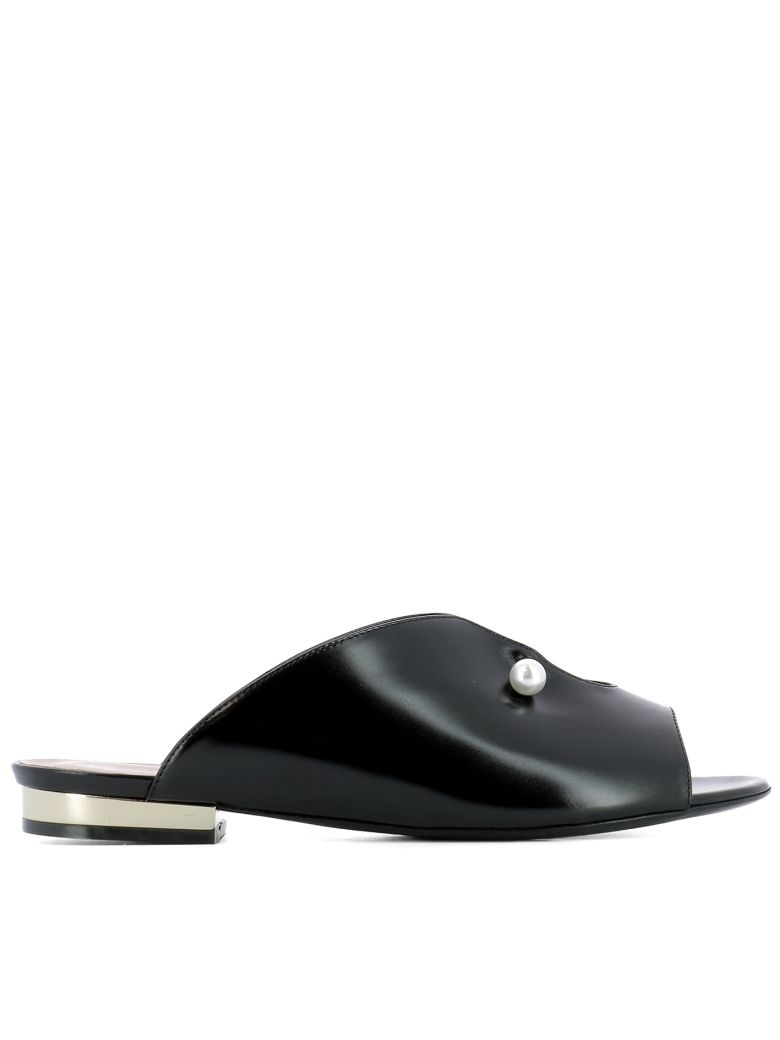10Mm Lucilla Leather Piercing Mules in Black