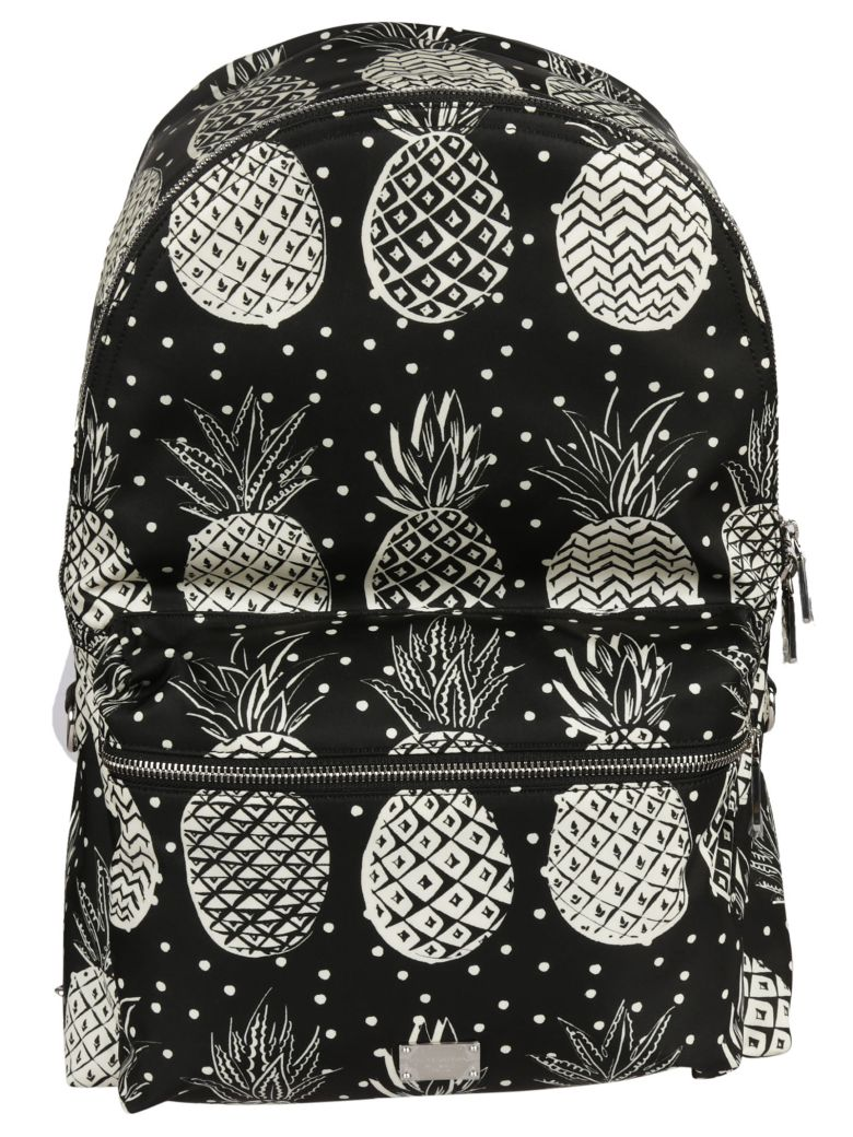 DOLCE & GABBANA Volcano Pineapple Print Backpack in Black