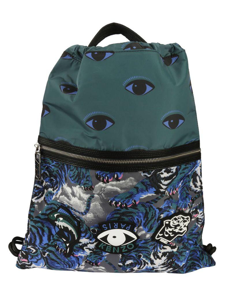 Kenzo Multi Icon Drawstring Backpack, Blue