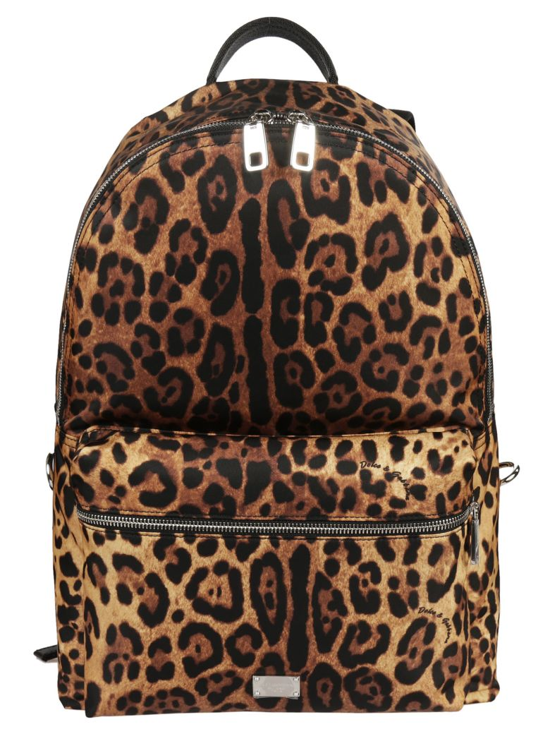 DOLCE & GABBANA Volcano Leopard Print Backpack in Brown