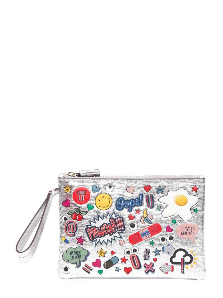 ANYA HINDMARCH Sticker-Print Metallic Leather Pouch, Silver in Silver Metallic