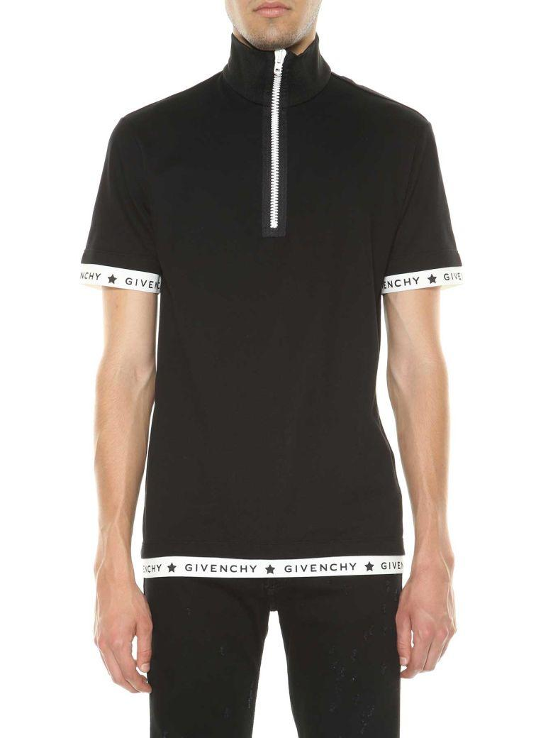 Well-liked GIVENCHY LOGO-TRIM ZIP-FRONT POLO SHIRT, BLACK | ModeSens WU53