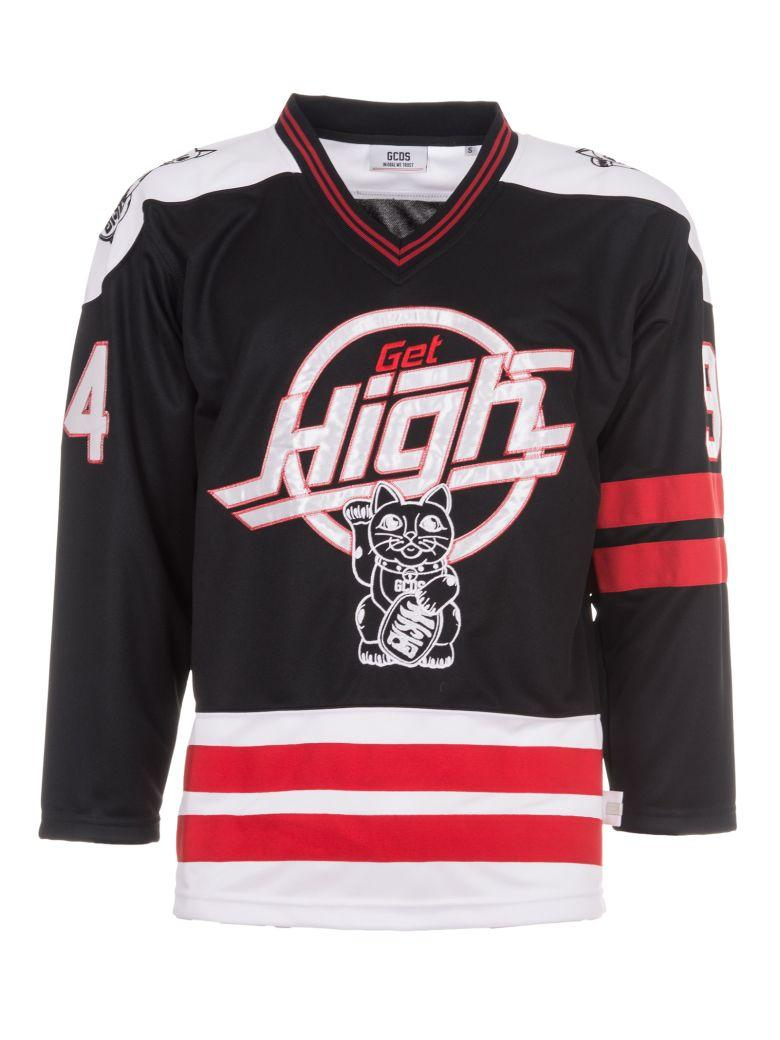 GCDS PATCHED TECHNO SATIN HOCKEY JERSEY, MULTICOLOR