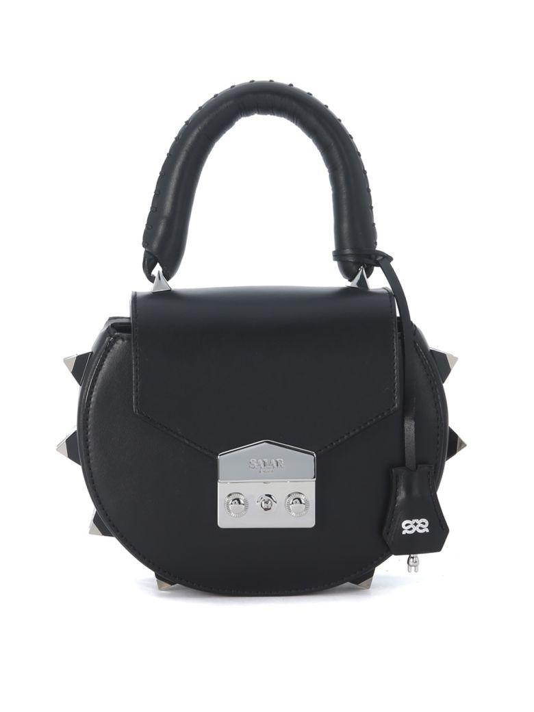 SALAR Mimi Black Leather Handbag With Studs in Nero