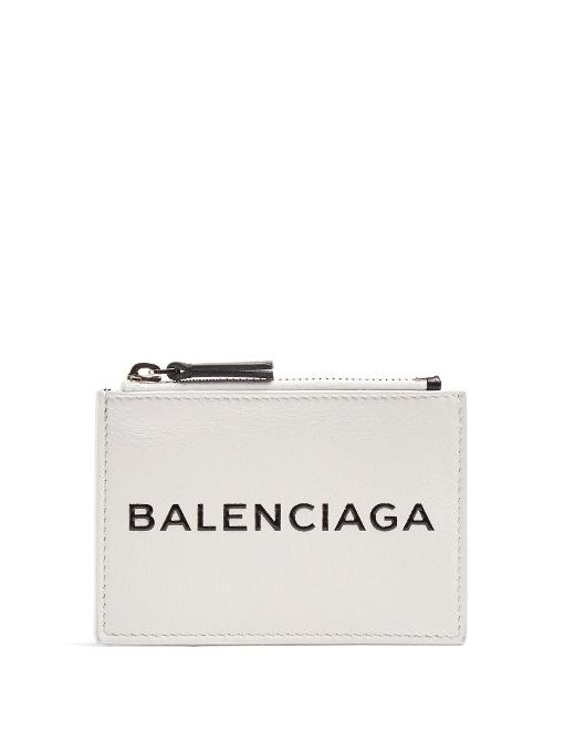 white leather logo cardholder Balenciaga pZrDB