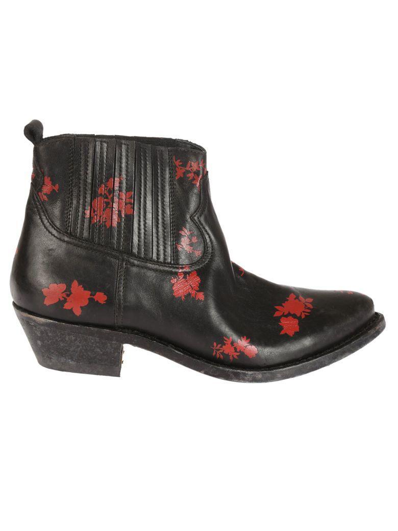 GOLDEN GOOSE Floral Detail Boots in Black