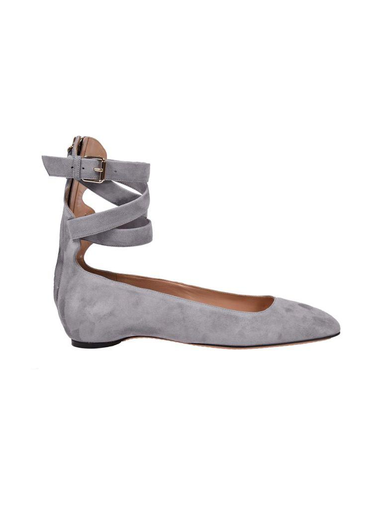VALENTINO Plum Suede Flats in Light Grey