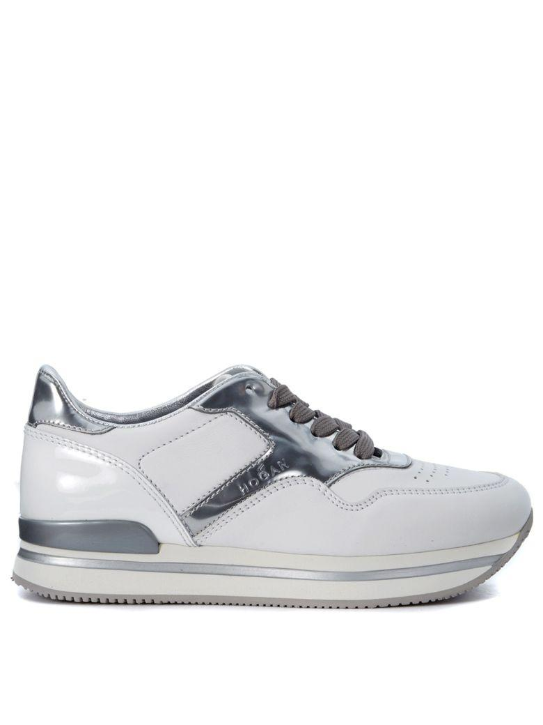 HOGAN Sneaker  H222 In White And Silver Leather in Argento
