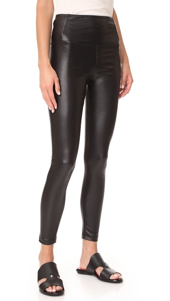 Tuxedo Side-Striped Vegan Leather Leggings, Classic Black