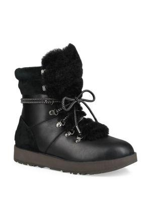Vicki Waterproof Leather & Sheepskin Boots, Black