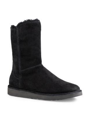 Abree Ll Short Suede And Sheepskin Boots, Nero Suede