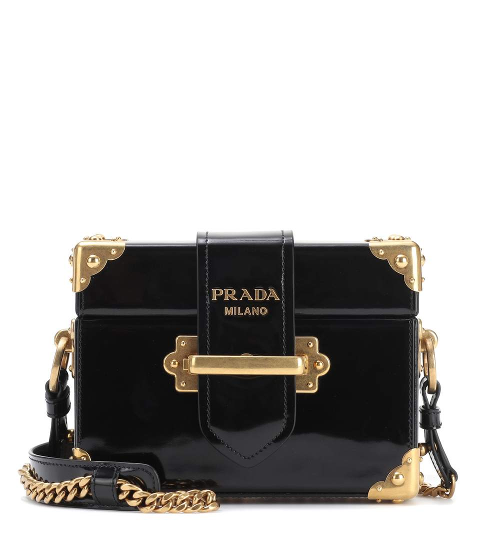 Cahier Box Patent-Leather Shoulder Bag, Black