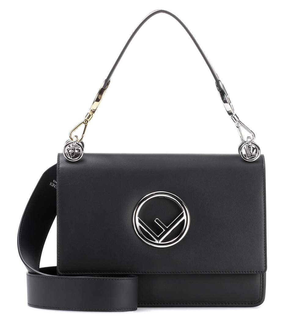 Kan I Logo Medium Black Leather Top Handle Satchel Bag