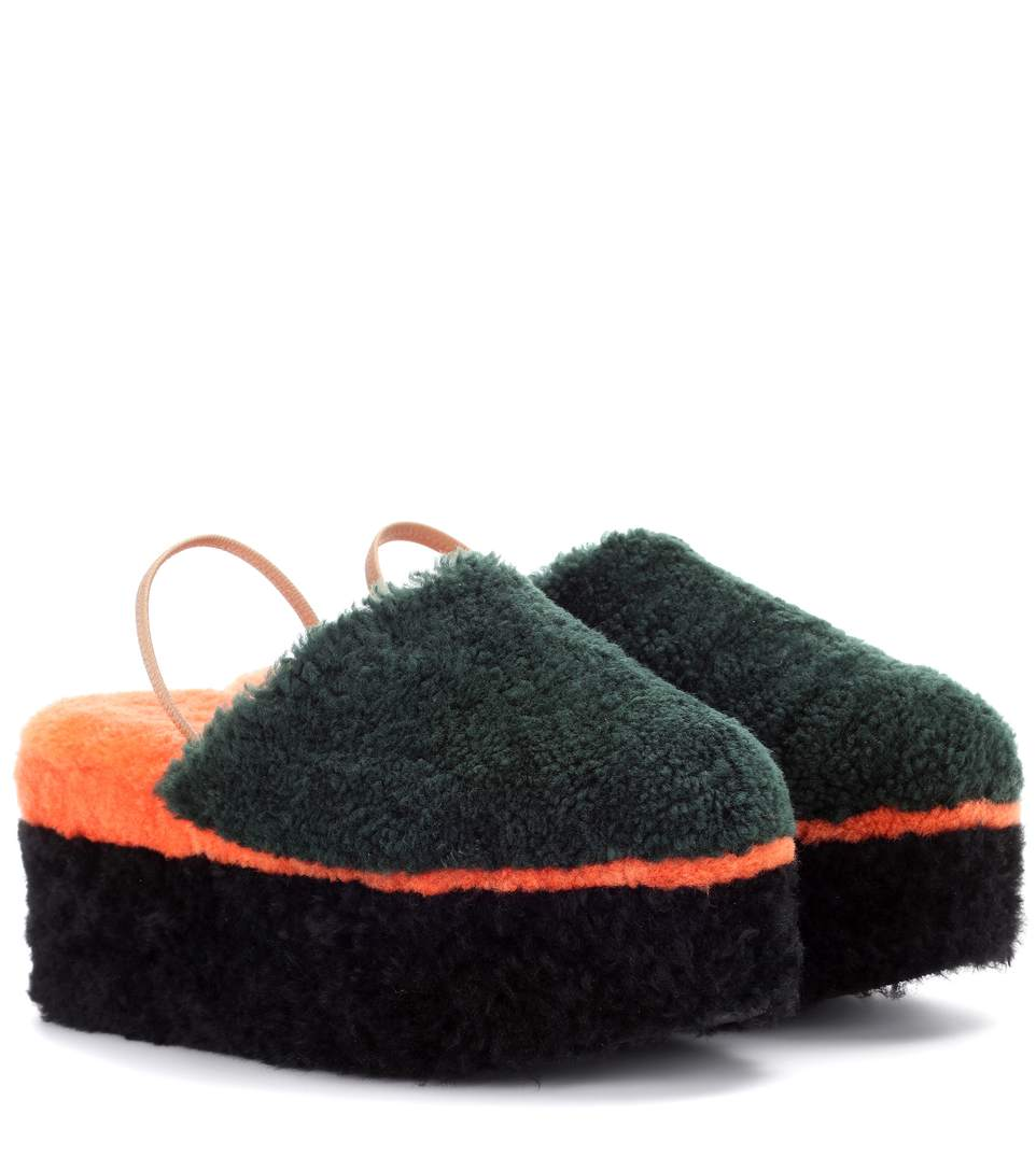 Shearling Platform Slippers in Multicoloured