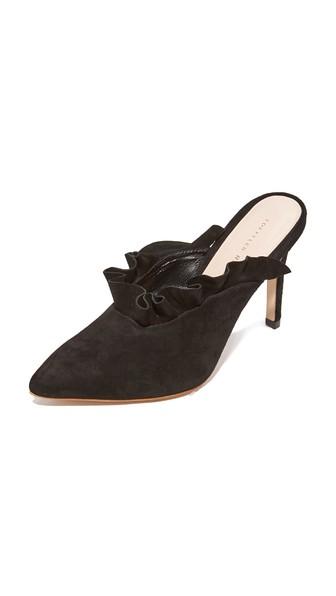 Women'S Langley Suede Pointed Toe High Heel Mules, Black