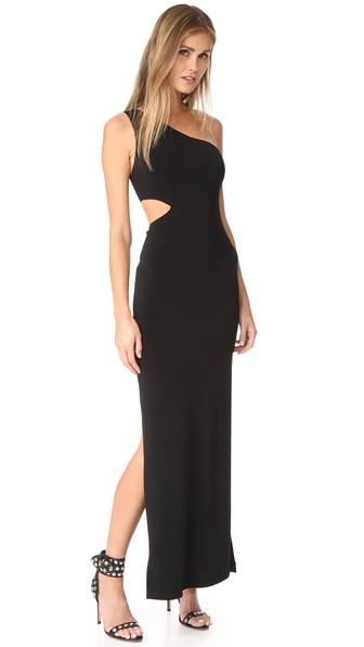 Malia Cutout One-Shoulder Maxi Dress, Black