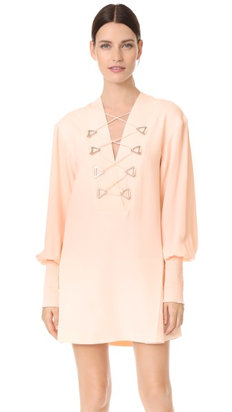 Military Blouson Mini Dress, Pink
