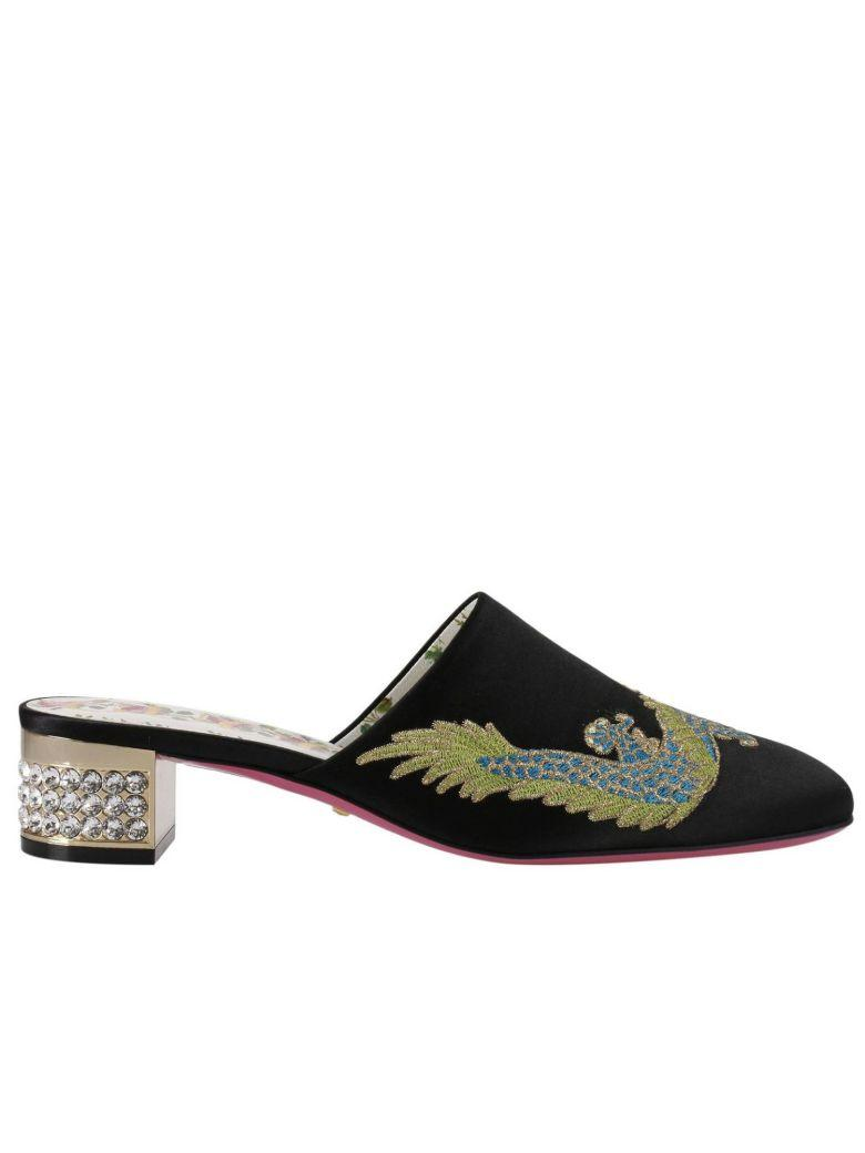 Crystal-Embellished Embroidered Satin Mules in Black