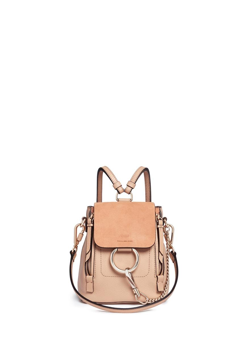 'Faye' Mini Suede Flap Leather Backpack, Pink