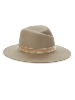Zoe Velvet-Trim Fedora Hat in Oatmeal