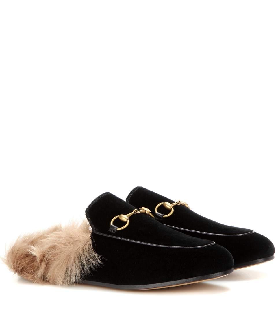 Men'S Princetown Velvet And Lamb Fur Slippers in Natural