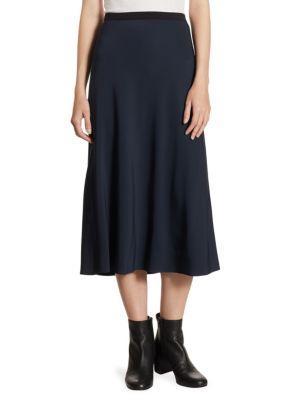 A-Line Elastic Crepe Slip Skirt in Dark Blue
