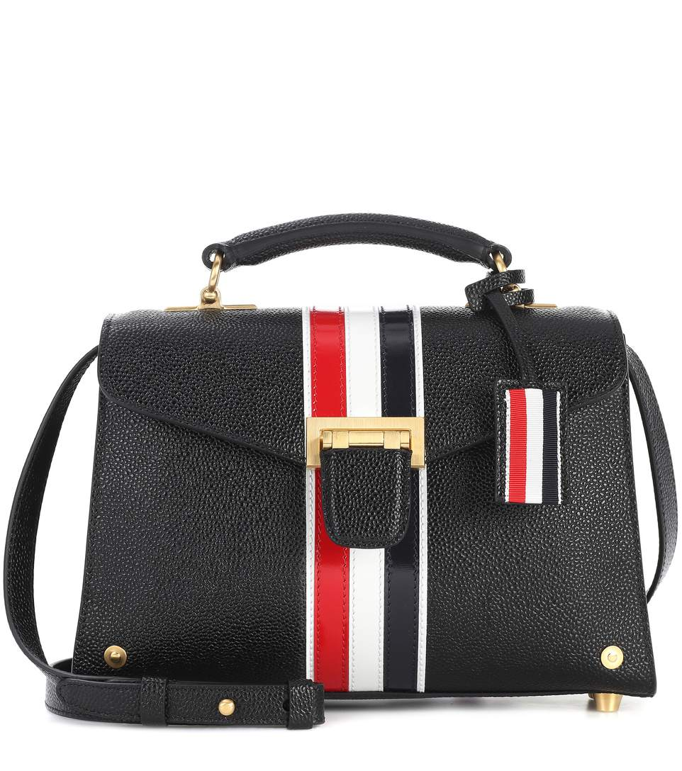 Unstructured Mrs. Thom With Red, White And Blue Vertical Stripe In Pebble Grain Calf Leather - Black Thom Browne