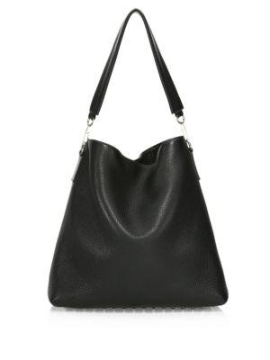 Large Roxy Covered Chain Leather Bucket Bag - Black