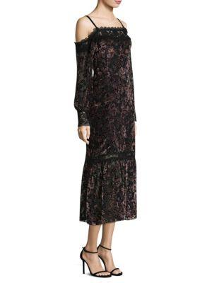 Picadilly Cold-Shoulder Velvet Burnout Midi Dress, Black Multi