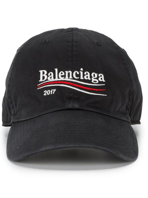 Political Logo Embroidered Gabardine Hat in Black