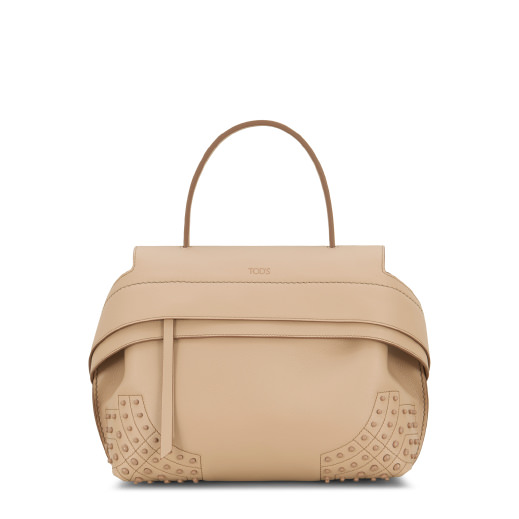 Wave Small Leather Tote, Beige