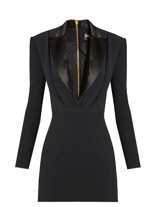 Satin-Lapel Mini Tuxedo Dress, Black