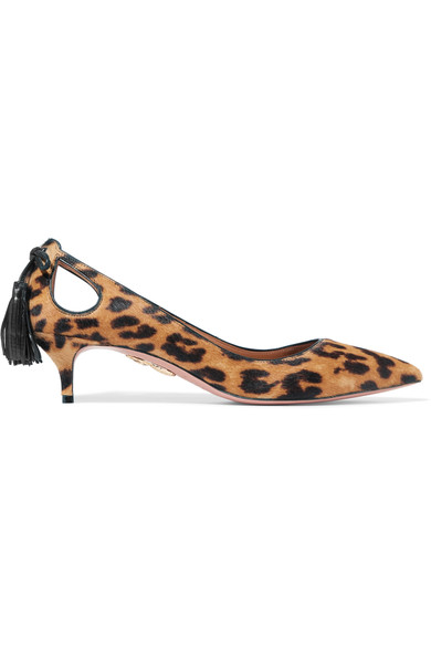 Forever Marilyn Tasseled Leopard-Print Calf Hair Pumps in Leopard Print