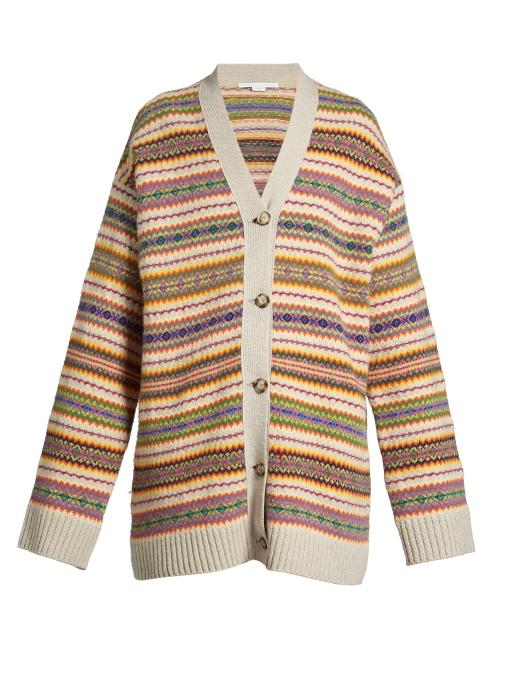 Fair Isle-Intarsia Oversized Wool-Knit Cardigan in 8491 - Multicolours