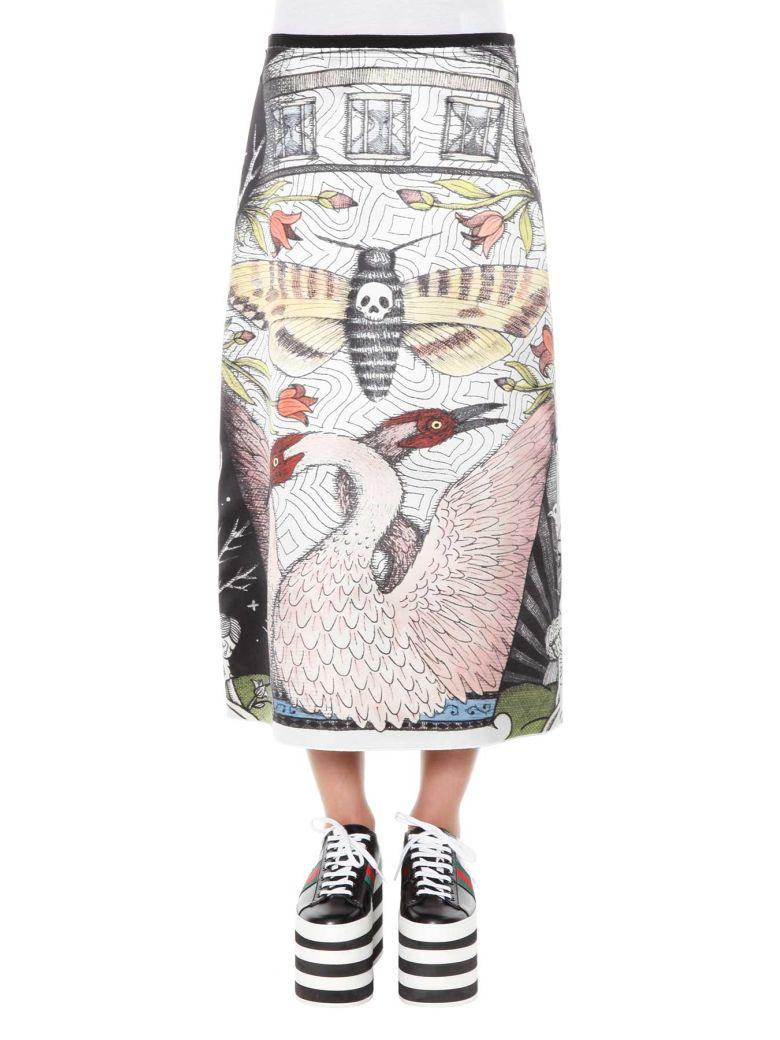 GUCCI THE CHARIOT PRINTED SILK SKIRT, BLACK, IVORY-PRINT