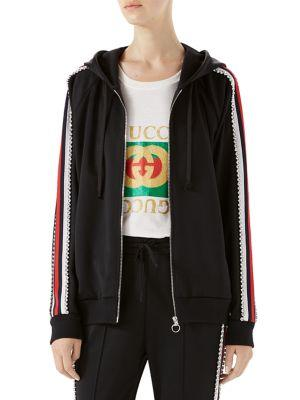 Swarovski Crystal-Embellished Striped Tech-Jersey Hoodie, Black Red