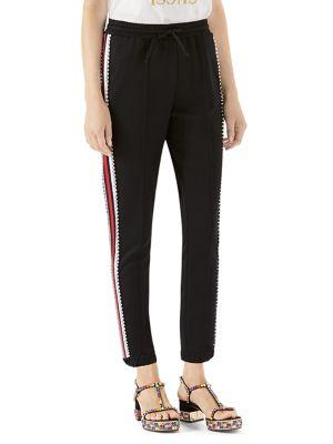 Swarovski Crystal-Embellished Striped Tech-Jersey Track Pants in Black