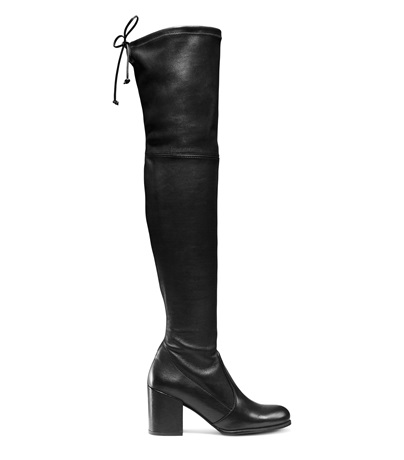 Tieland Over-The-Knee Boots in Black Stretch Leather